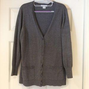 Liz Claiborne Gray Cardigan Sweater V-Neck Buttons